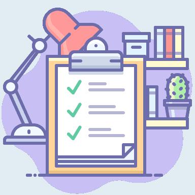 Icon checklist on clipboard