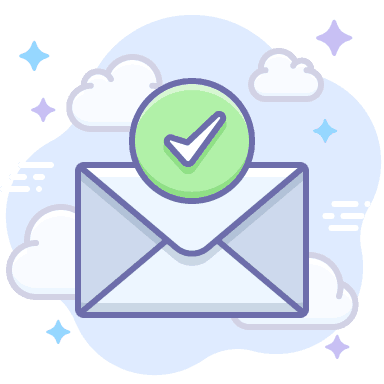 Icon envelope with checkmark for online marketing