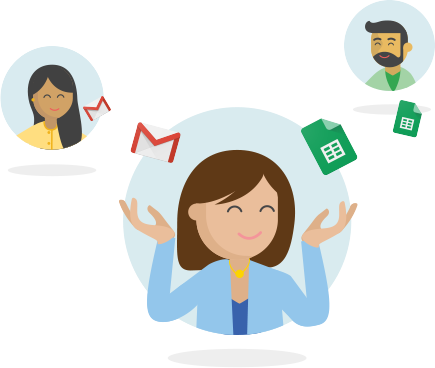 Icon of 3 persons with G Suite elements