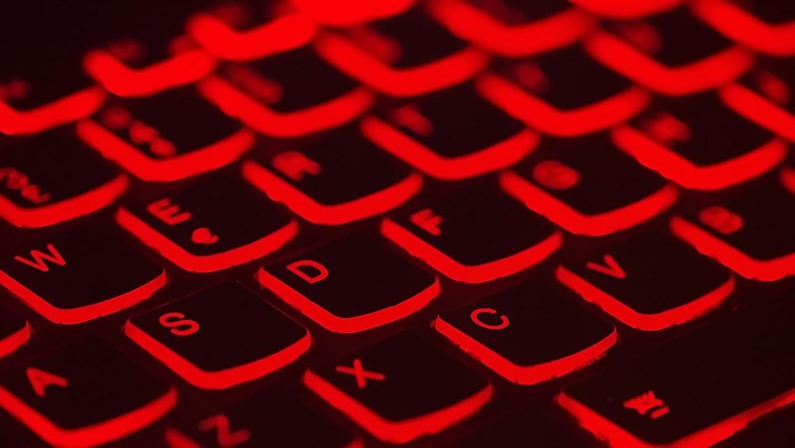 Red backlit laptop keyboard