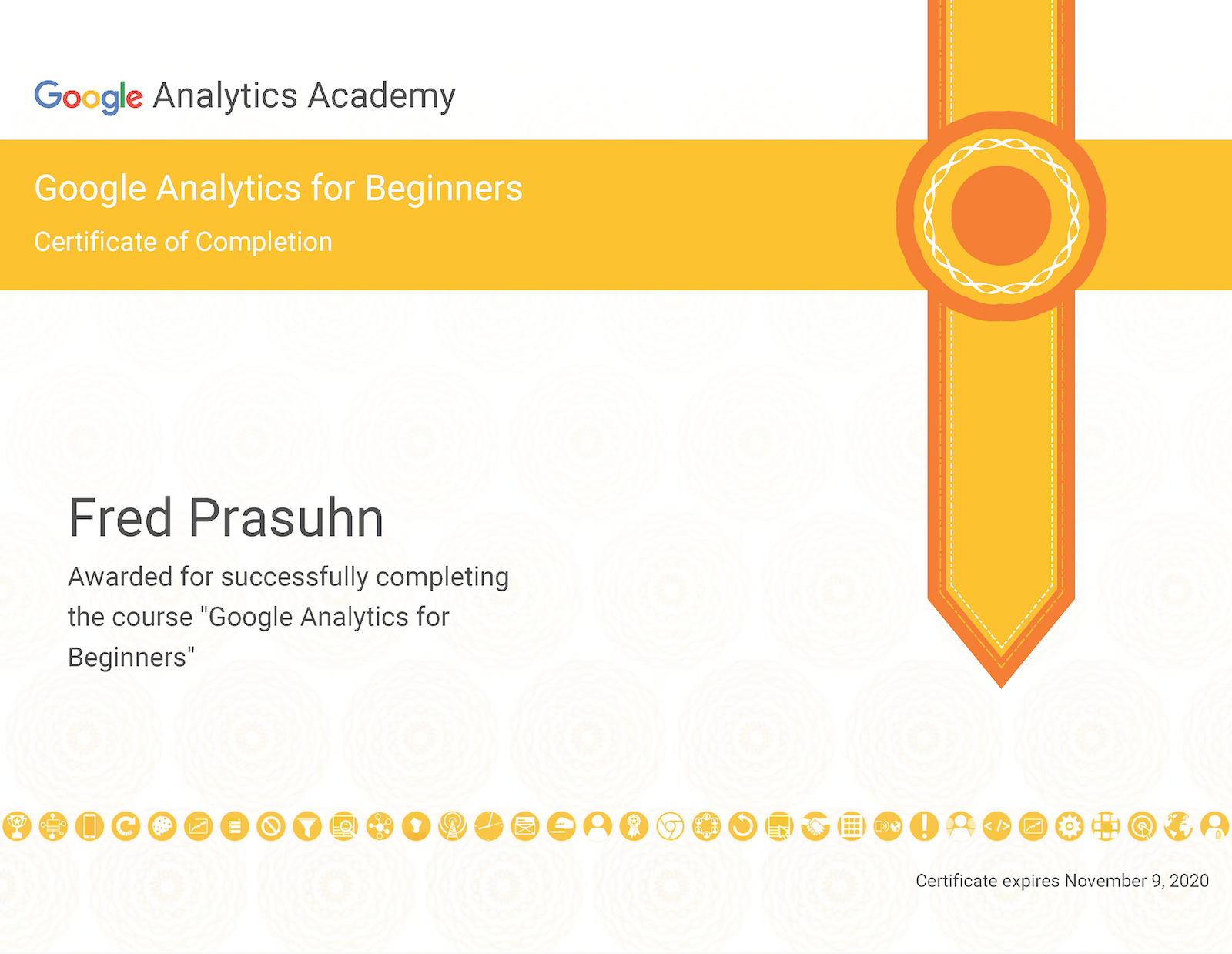 Certificate of completion: Google Analytics for Beginners