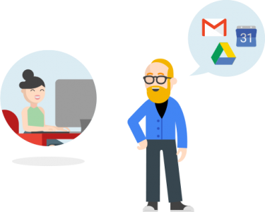 Two business persons using G Suite