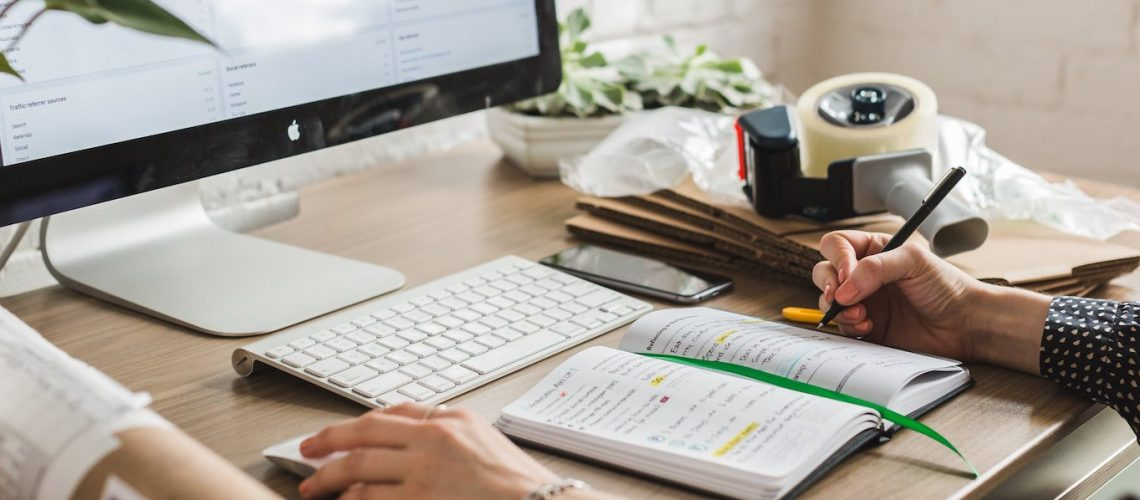 Starting a business person working at desk